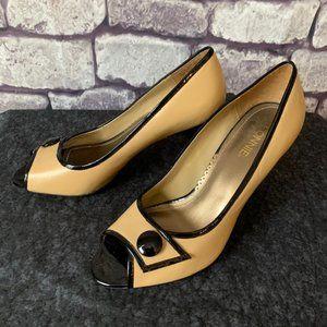 Connie Taupe W/ Black Trim & Button Heels